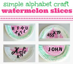Cute summer alphabet craft - letter watermelons. I am going to make it look like a monster and I thought I would add the letters that are in my three year old's first name