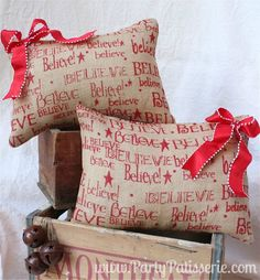BELIEVE Burlap Christmas Pillow. $24.95, via Etsy.