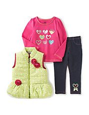 Hearts Vest Three-Piece Set