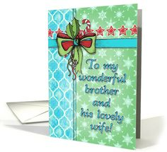 Christmas card for my brother, vintage toned green, mint, aqua / turquoise & red design with snowflake & #Moroccan #pattern.