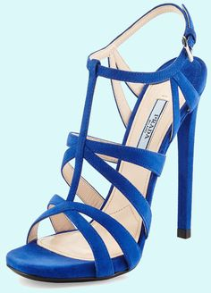 Prada Suede Crisscross Suede Sandal #bluette