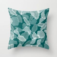 Teal foliage pillow teal home decor leaf pattern by NewCreatioNZ