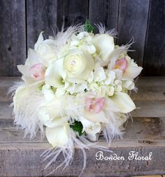 Bowden Floral: Bride's Bouquet with callas, hydrangeas, orchids, roses, rhinestone, pearls, burlap, and lace.