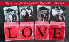 "DIY ""Love"" Photo-Holder Wooden Blocks"