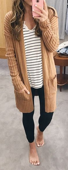 #winter #outfits women's brown cardigan