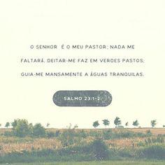 ¶ O Senhor é o meu pastor; nada me faltará. Deitar-me faz em verdes pastos, guia-me mansamente a águas tranquilas. Refrigera a minha alma; guia-me pelas veredas da justiça por amor do seu nome. Salmos 23:1-3
