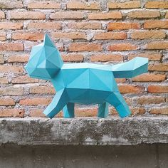 3D Papercraft  DIY Papercraft Kit  Kitten by lowpolypaper on Etsy
