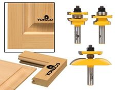 "Yonico 12343 3 Bit Raised Panel Cabinet Door Router Bit Set, Round Over Rail and Stile with Panel Raiser, 1/2"" Shank"