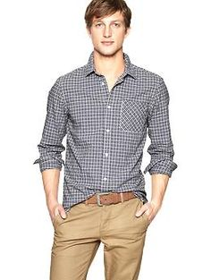 Crinkle square plaid shirt (slim fit)   Gap