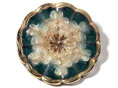 1 27mm Rare Antique Victorian Czech Fancy Gold Gilt Lacy Glass Flower Button | eBay