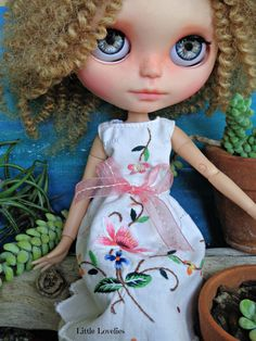 """Blythe or Pullip Doll  OOAK -""""Delightfully Delicate""""  vintage hand embroidered linen with pretty flowers by LittleLovelieShop on Etsy"""