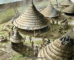Artist's reconstruction of the Celtic roundhouses at Maiden Castle.
