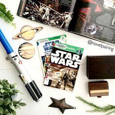 "An ode to ""Star Wars"" since my son is obsessed . . . . #ireadya #yalovin #fantasy #bookstagram #bibliophile #instabook #becauseofreading #bookphotography #booknerdigans #goodreads #bookaddict #bookworm #booknerd #bookstagramfeatures #bookflatlay #flatlay #bookporn #graphicnovel #starwars #rey #darthvader #lightsaber #planet #deathstar #bb8 #space #spaceship"