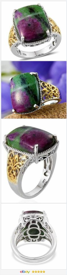 Ruby Zoisite Ring 14K and Sterling Silver 22.00 carats Size 6 USA SELLER  60% OFF #EBAY FLASH SALE - 60% OFF  #EBAY http://stores.ebay.com/JEWELRY-AND-GIFTS-BY-ALICE-AND-ANN …