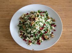 Cauliflower 'Couscous' Salad with Herbs, Pomegranate & Walnuts. - Danielle Levy