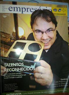 Maycon Souza na capa da revista Empresário | ACIB por ser ganhador do prêmio Gustav Salinger na categoria Jovem Empreendedor