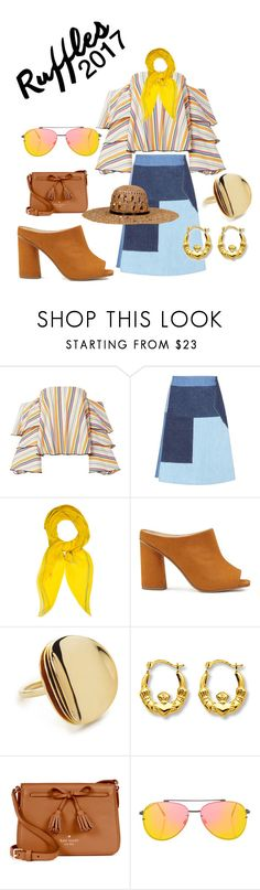 """When she wears #Ruffles 2017"" by duke-ellis ❤ liked on Polyvore featuring Caroline Constas, M.i.h Jeans, Hermès, Miss Selfridge, Elizabeth and James, Kate Spade, Topshop and KOCCA"