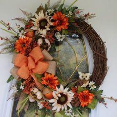 Fall Wreath Autumn Wreath Summer Wreath by PrissyPetalsBoutique