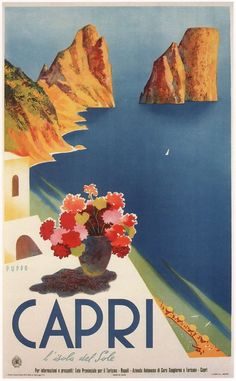 Italy - Capri 1952 > Vintage Poster Art On Canvas Old Poster, Poster Art, Kunst Poster, Poster Prints, Art Posters, Retro Posters, Art Prints, Movie Posters, Vintage Italian Posters