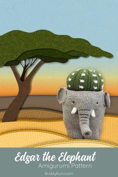 Crochet plushie: Edgar the elephant amigurumi pattern. #amigurumianimal #crochetplushie Crochet Elephant Pattern, Crochet Patterns, Crochet Cactus, Knitted Flowers, Plush Animals, Baby Elephant, Decoration, Crochet Stitches, Crafty