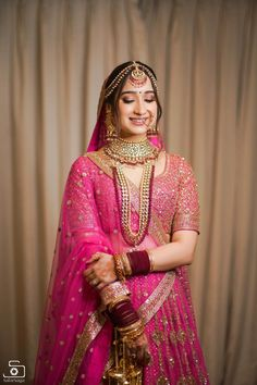 We Can't Stop Admiring This Bride's Beauty & Her Hot Pink Sabyasachi Lehenga