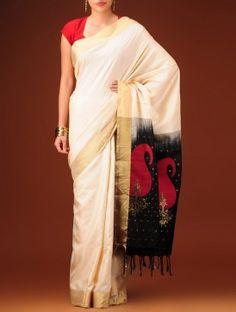 Cream-Golden-Black Silk Saree