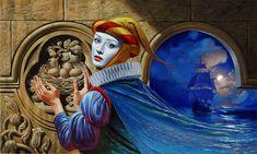 """Michael Cheval Nostalgia 18"""" x 30"""", oil on canvas, 2012"""