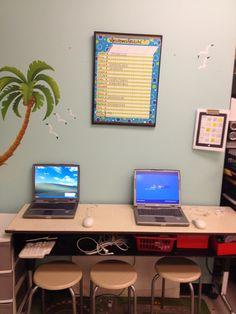 Centre d'informatique. Deux vieux ordinateurs pas chers qui nous aiment en classe. Corner Desk, Centre, Education, Decor, Old Computers, Computer Science, Corner Table, Decoration, Onderwijs
