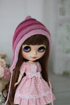 Cap with a color gradation  for  Blythe / Pullip / Tangkou and BJD SD 1/3 size 8-9 inch