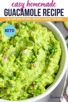 Add some serious fresh flavor to your day with this easy keto-friendly guacamole recipe. Includes low-carb recipes like keto burrito bowls, shrimp tacos with cheese shells, and snack options like alternatives to chips that you can enjoy this with. Plus, tips for how to know when you're avocado is ripe. #ketodiet #ketorecipes #guacamole #lowcarbdiet #lowcarbrecipes #dips #appetizer Sugar Free Recipes, Top Recipes, Good Healthy Recipes, Low Carb Recipes, Party Recipes, Healthy Food, Keto Guacamole Recipe, Keto Taco Salad, Homemade Guacamole