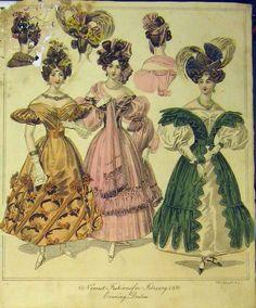 women's clothing 1830 | Antique Print Womens Fashion 1830 Evening Dresses Head-dresses ...