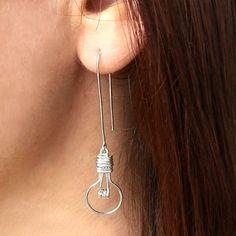 Light Bulb Earrings - Unusual Silver Earrings, Lightbulb Earrings by FioreJewellery on Etsy