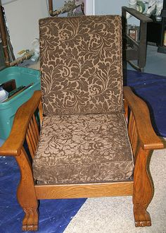 Antique Morris chair refinished by Stone Bridge Antiques.  www.stonebridge-antiques.com