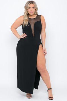 Plus size high slit donatella dress - black curves красотки Trendy Plus Size Clothing, Plus Size Fashion, Plus Size Dresses, Plus Size Outfits, Curvy Outfits, Pernas Sexy, Black Curves, Burgundy Bridesmaid Dresses, Plus Size Beauty