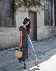 Long shirt dress and jeans- Sheryl (@walkinwonderland)