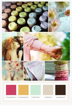 A rainbow colorboard perfect for Spring or Summer: raspberry, tangerine, menthe, espresso.