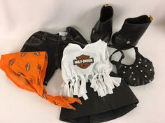 Build A Bear Harley Davidson Faux Leather Skirt, Jeans, Fringe Top, Boots Purse  #BuildaBear #AllOccasion