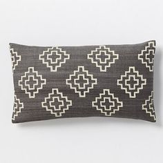 Hand-Blocked Stepped Diamond Pillow Cover – Slate