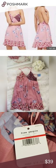 Free People Neutral Floral Color Slip Dress NWT. Sexy low back, criss-cross straps. Over sized, flowy material. Free People Dresses