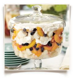 Peach-and-Blueberry Trifle - can't wait for peaches to come in season for this!