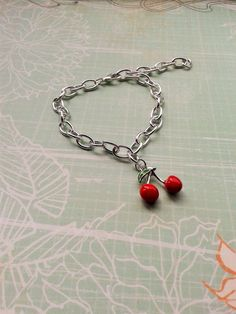 Rockabilly Cherry Bracelet,Cherry Charm Bracelet,Costume Jewelry,Pin Up Accessories,Kitsch Charm Bracelet,Novelty Cherry Charms,Summer Chic. by RosieMays on Etsy