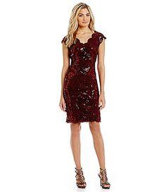 Tadashi Shoji Sequined Scalloped Lace Sheath Dress #Dillards