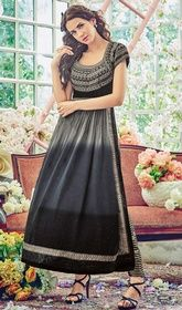 Black and Gray Color Shaded Georgette Pant Style Suit #pantstylesuit #georgettepantstylesuit Bring out the elegance in your personality clad in this black and gray color shaded georgette pant style suit. Gorgeous attire is displaying some superb embroidery done with resham and lace work.  USD $ 98 (Around £ 68 & Euro 74)