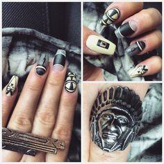#nail #nails #beige #black #aztec #individual