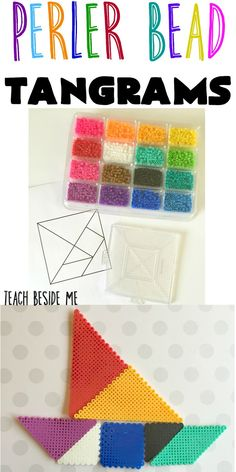 Peeler Bead Tangrams from Teach Beside Me. This could be a fun way to teach math - have students make their own DIY tangrams with perler beads! Awesome for a STEM STEAM makerspace Math Activities For Kids, Math For Kids, Fun Math, Teach Preschool, Math Resources, Fuse Beads, Perler Beads, Creative Arts And Crafts, Crafts For Kids