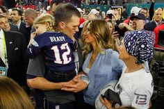HOUSTON, TX - FEBRUARY 05:  Tom Brady #12 of the New England Patriots celebrates with wife Gisele Bundchen and daughter Vivian Brady after defeating the Atlanta Falcons during Super Bowl 51 at NRG Stadium on February 5, 2017 in Houston, Texas. The Patriot