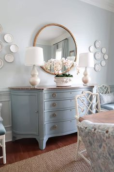 How to determine what you will makeover in your dining room. See the reveal of this French Country dining room makeover in beautiful blues, with custom upholstery and drapes. Chalk Paint Furniture, Furniture Projects, Furniture Makeover, Diy Furniture, Blue Painted Furniture, Refinished Furniture, Furniture Assembly, Bedroom Furniture, French Country Dining Room