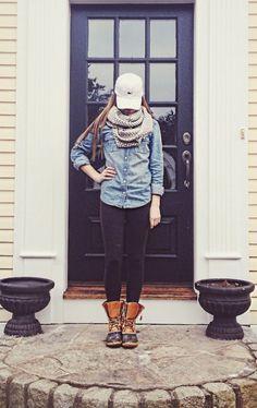 Denim shirt, scarf, leggings, boots, baseball hat