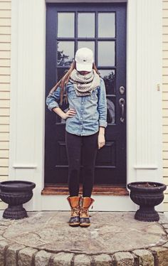 Denim shirt, scarf, leggings, boots, baseball hat
