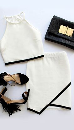 When it comes to making an impression, the Special Someone Black and Ivory Two-Piece Dress has got you covered! Bodycon two-piece dress with a trendy envelope skirt. Mode Outfits, Fashion Outfits, Womens Fashion, Fashion Trends, Skirt Outfits, Hipster Outfits, Skirt Fashion, Hipster Shirts, Fashion 2018